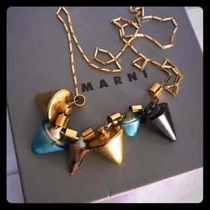 MARNI gold metal necklace with cones